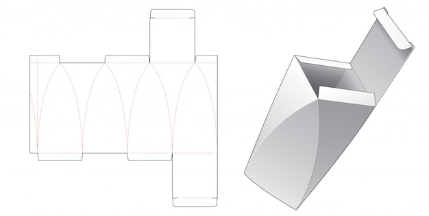 Gebogene seitenverpackungsbox gestanzte schablonendesign