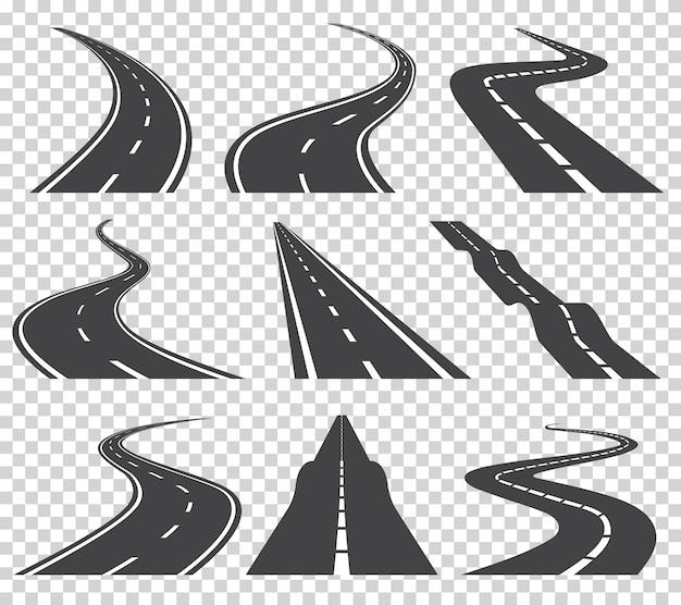 Gebogene straßen vektor festgelegt. asphaltstraße oder weisen- und kurvenstraßenlandstraße. kurvenreiche kurvenreiche straße oder autobahn mit markierungen