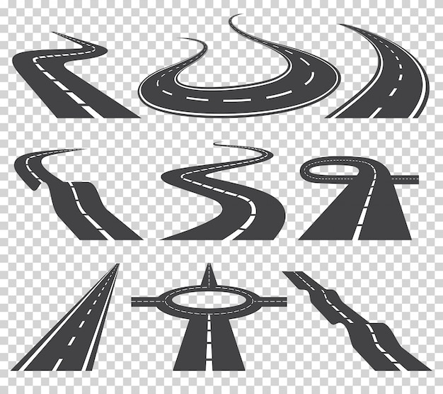 Gebogene straßen vektor festgelegt. asphaltstraße oder weisen- und kurvenstraßenlandstraße.