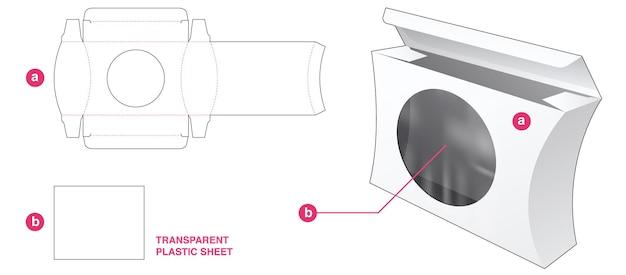 Gebogener seitenkasten und rundes fenster mit stanzschablone aus transparenter kunststofffolie