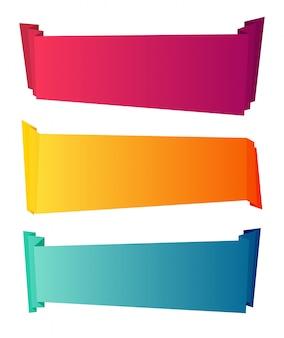 Gebogenes farbpapier dekorative bänder