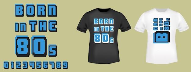 Geboren im 80er-jahre-retro-spieldesign für t-shirt, stempel, t-shirt, applikation, modeslogan, abzeichen, label-kleidung, jeans oder andere druckprodukte. vektor-illustration.