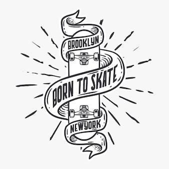 Geboren, skateboardweinleseillustration eiszulaufen