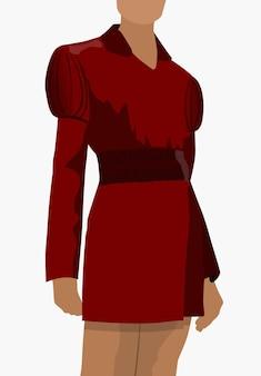 Gebräunte frau gekleidet im roten klassischen kleid, das in einer pose steht.