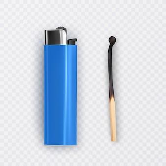 Gebranntes streichholz und heller von blauer farbe