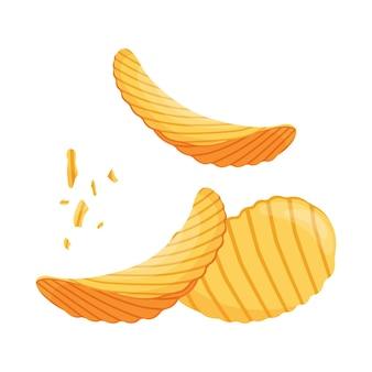 Gebratene kartoffelchips, leckere krümel, cartoon-stil. vektorillustration eines salzigen biersnacks.
