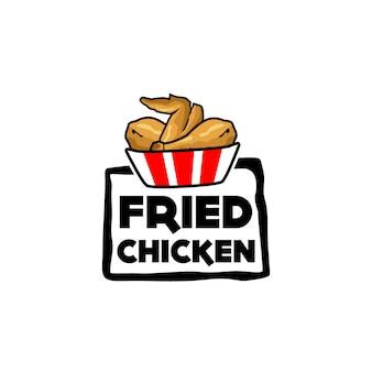 Gebratener hühnerlogovektor