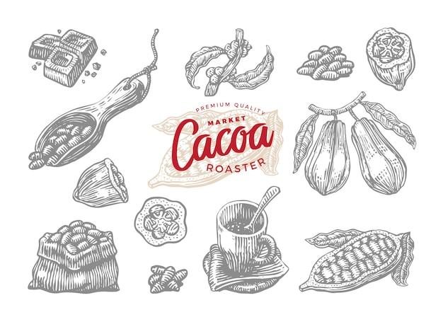 Gebratener kakao-zeichnungssatz