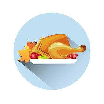 Gebratener truthahn. glücklicher erntedank-tageskonzept autumn traditional meal