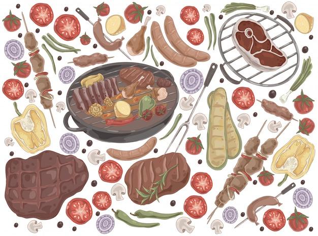 Gebratenes fleisch mit gemüse-grill-set