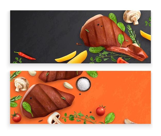 Gebratenes fleisch mit gemüsebannern