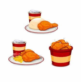 Gebratenes hühnermenü mit pommes frites soda und auf eimersymbol für fast-food-restaurant-set-konzept in karikaturillustration