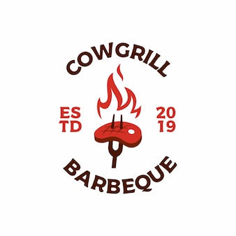 Gebratenes steak grill feuer flamme logo symbol