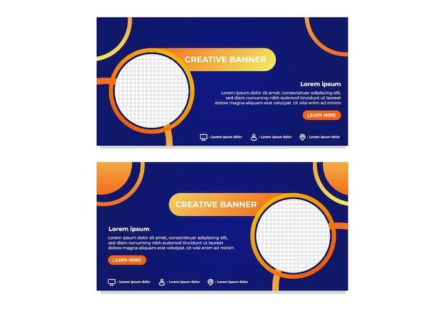 Gebrauchsfertige kreative business-banner-vorlage mit modernem farbverlauf