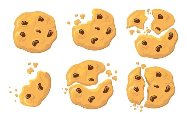 Gebrochene haferkekse gesetzt. traditioneller amerikanischer keks mit schokoladencrunches lokalisiert auf weiß. illustration für hausgebackenes essen, rezept, snacks-konzept