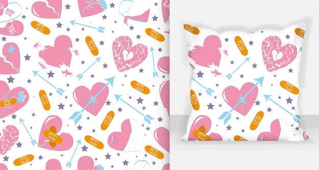 Gebrochene herzen vektor-set von icons und symbolen in rosa farbe mit wunde, patches, stichen und bandagen einzeln auf weißem hintergrund. vektor-illustration.