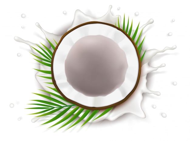 Gebrochene kokosnuss in milchspritzer