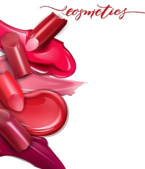 Gebrochene lippenstifte nahaufnahme und abstriche lippenstift realistische modellvektorillustration