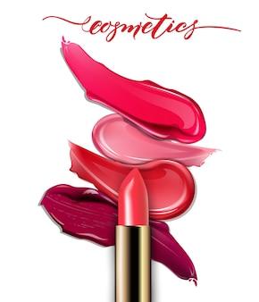 Gebrochene lippenstifte nahaufnahme und schmiert lippenstift auf weißem hintergrund schönheitskonzept realistisches modell