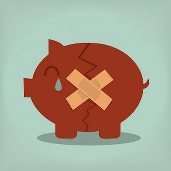 Gebrochene sparschwein design