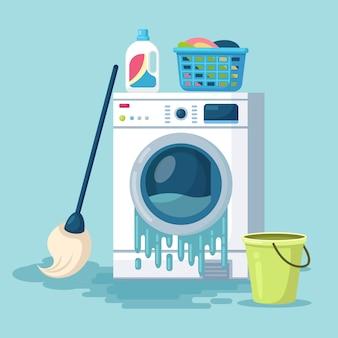 Gebrochene waschmaschine mit mopp, eimer wasser lokalisiert auf hintergrund. beschädigte waschmaschine mit fließendem wasser auf dem boden. elektronische wäschereiausrüstung für die reinigung muss repariert werden