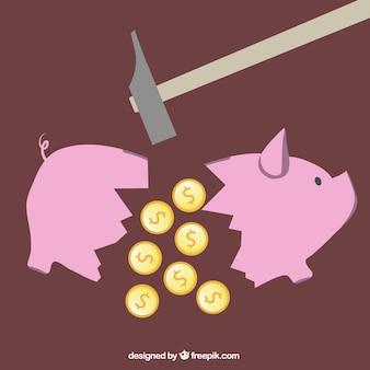 Gebrochenen sparschwein