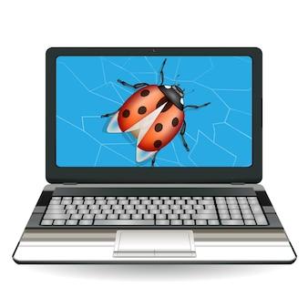 Gebrochener laptop computer durch einen fehler zu zerstören