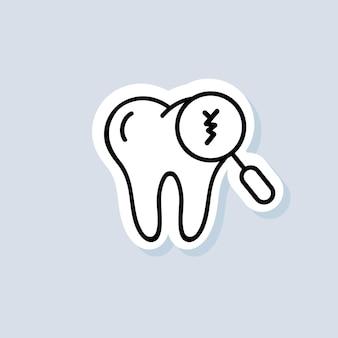 Gebrochener zahn aufkleber. zahnmedizin und medizin. pflege von zähnen, abgebrochenen zähnen und karies. vektor auf isoliertem hintergrund. eps 10.