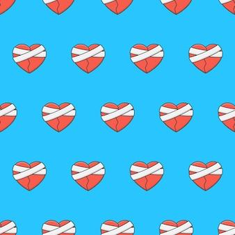 Gebrochenes herz mit bandage seamless pattern auf blauem hintergrund. romantik-thema-vektor-illustration