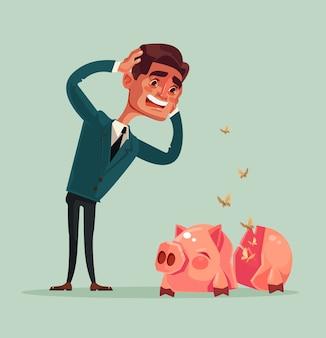 Gebrochenes leeres sparschwein kein geld trauriger unglücklicher weinender büroangestellter-geschäftsmanncharakter, flache karikaturillustration