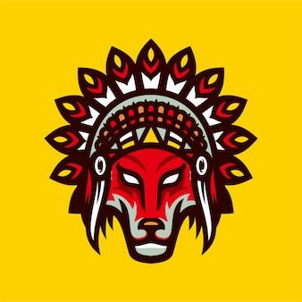 Gebürtiger indianischer wolf esports logomaskottchen-vektorillustration