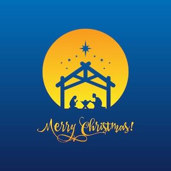Geburt christi, silhouette von maria, joseph und jesus mit text frohe weihnachten. vektor-eps 10