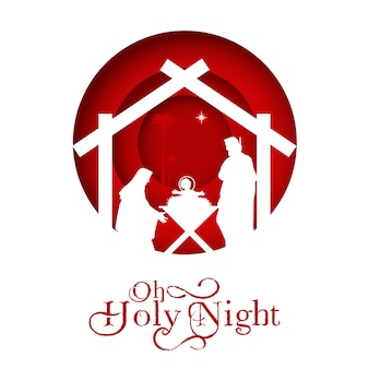 Geburt christi, silhouette von maria, joseph und jesus,