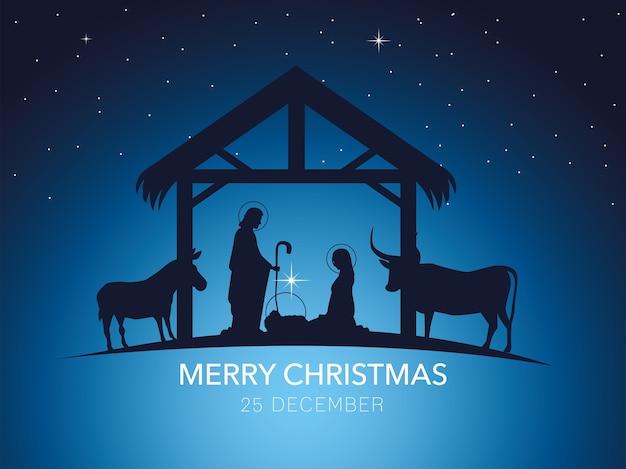 Geburt christi, traditionelle krippe mit heiliger familie und tieren, gradientenhintergrund
