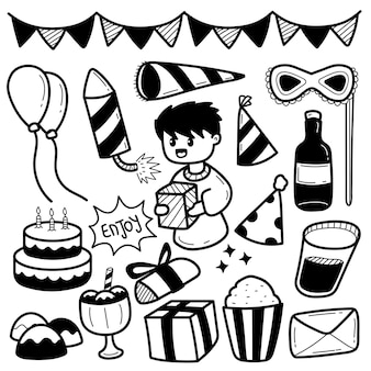 Geburtstag doddle illustration