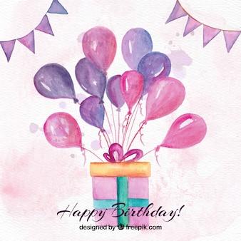 Geburtstag geschenk hintergrund mit aquarell ballons