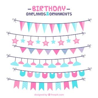 Geburtstag girlanden in blau und rosa tönen