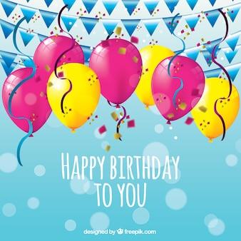 Geburtstag hintergrund mit bunten luftballons und girlanden