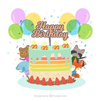 Geburtstag hintergrund mit leckeren kuchen und süße tiere