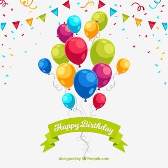 Geburtstag hintergrund mit schönen bunten luftballons und konfetti