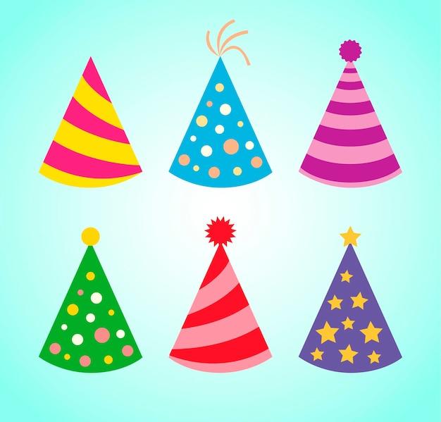 Geburtstag hüte. geburtstag kappen. farbige partyhüte-symbole. vektorsammlung