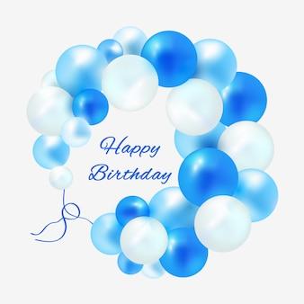 Geburtstag in einem rahmen von blauen ballonen