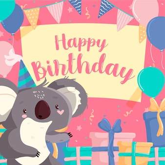 Geburtstag instagram post und smiley-koala