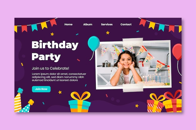 Geburtstag landing page vorlage