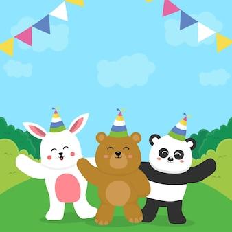 Geburtstag mit schönen tieren Premium Vektoren