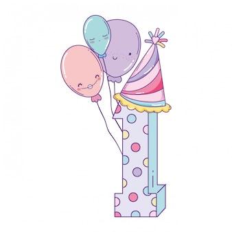 Geburtstag nummer eins mit ballons und hut