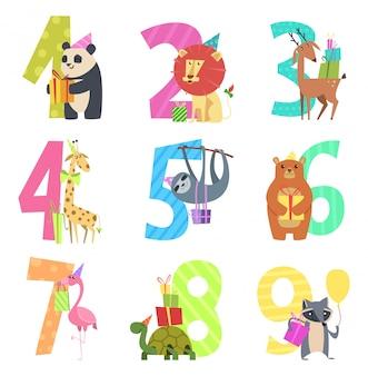 Geburtstag nummeriert tiere. party spaßeinladung für kinderfeiercharaktertiere der zoo-cartoonmaskottchen der wild lebenden tiere