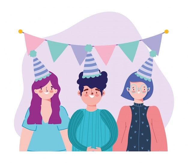 Geburtstag oder treffen freunde, junger mann und frauen mit hut wein tasse und wimpel dekoration feier illustration