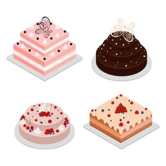 Geburtstag und schokoladenkuchen. 4 isometrische kuchen. würfelkuchen