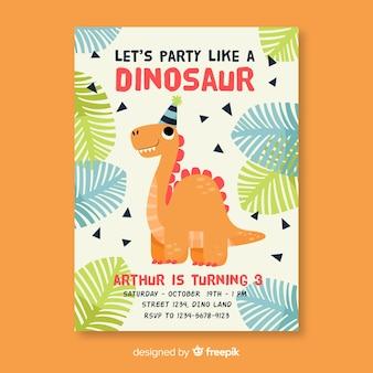 Geburtstags-einladungsschablone der kinder mit dinosaurier